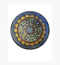 Bicycle Mandala in Blue Green and Yellow Photographic Print