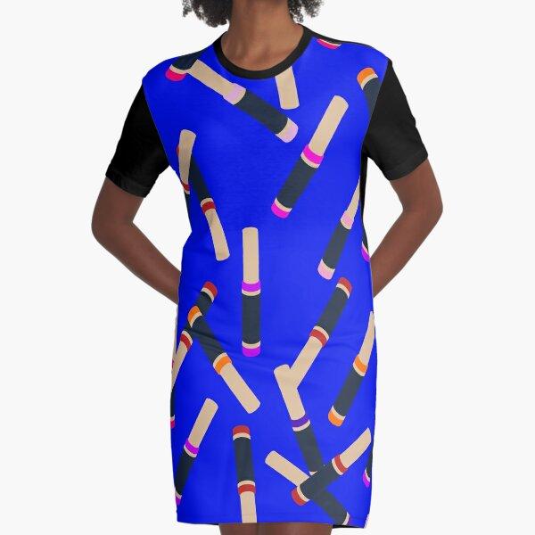 Blue Lipstick Graphic T-Shirt Dress