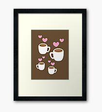Coffee cups group with love hearts cute! Framed Print