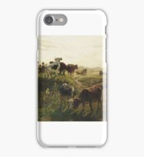 Karl Stuhlmüller, MARKET IN FRONT OF A TOWN GATE IN WINTER iPhone Case/Skin
