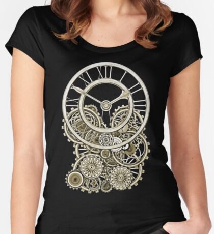 Stylish Vintage Steampunk Timepiece Vintage Style Steampunk T-Shirts Women's Fitted Scoop T-Shirt