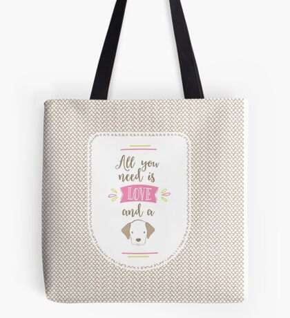 All you Need is Love and a Beagle Tote Bag