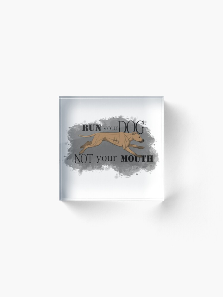 Alternate view of Run Your Dog Not Your Mouth American Pit Bull Terrier Fawn Acrylic Block