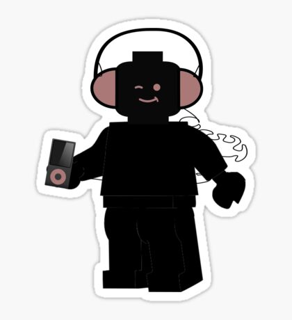Minifig with Headphones & iPod Sticker