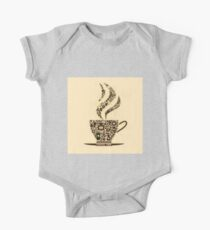 Coffee Cup Made From Coffee Icons One Piece - Short Sleeve