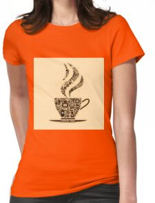 Coffee Cup Made From Coffee Icons Womens Fitted T-Shirt