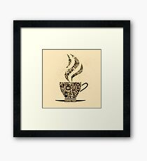 Coffee Cup Made From Coffee Icons Framed Print