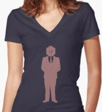 Minifig Business Man Women's Fitted V-Neck T-Shirt