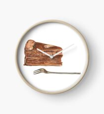 Slice of Chocolate Cake with a Fork Clock