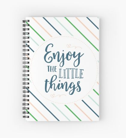 Enjoy the Little Things - Navy Stripes Spiral Notebook