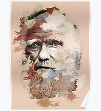 Paint-Stroked Portrait of Scientist and Evolutionary Biologist, Charles Darwin Poster