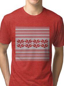 Christmas Elements Wool Pattern Tri-blend T-Shirt