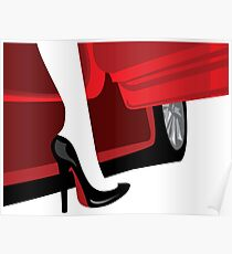 Luxury fashion woman with an automobile silhouette Poster