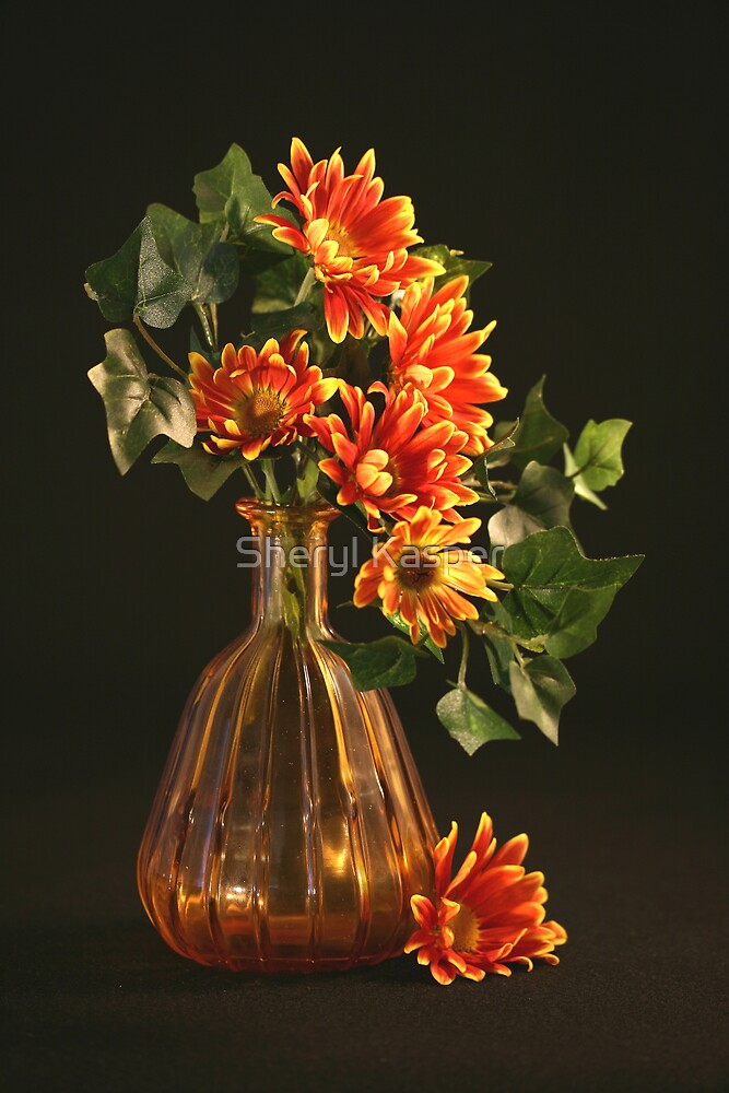 Gold Vase and Flowers by Sheryl Kasper