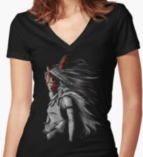 mononoke sans fury  Women's Fitted V-Neck T-Shirt