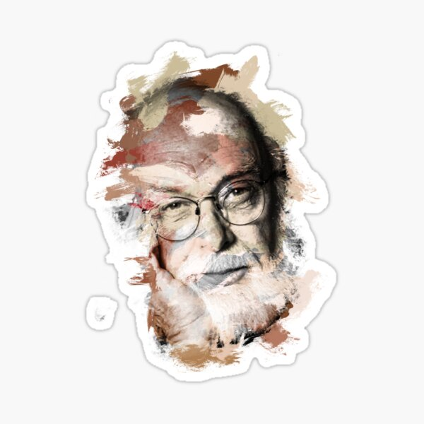 Paint-Stroked Portrait of Magician and Activist, James Randi Sticker