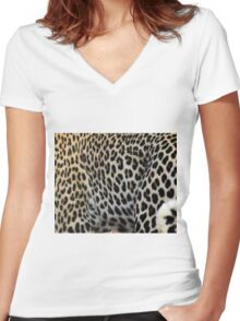 LEOPARD - animal collection Women's Fitted V-Neck T-Shirt