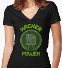Hacker Power Women's Fitted V-Neck T-Shirt