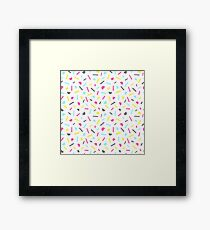 Simple memphis style pattern. Seamless abstract background.  Framed Print