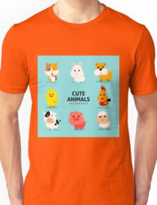 Assortment Farm Animals Flat Design Unisex T-Shirt