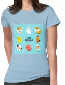 Assortment Farm Animals Flat Design Womens Fitted T-Shirt