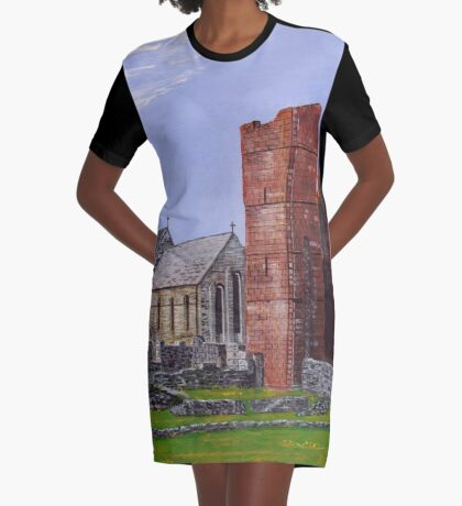 Lindisfarne Priory and St. Mary's Church Graphic T-Shirt Dress