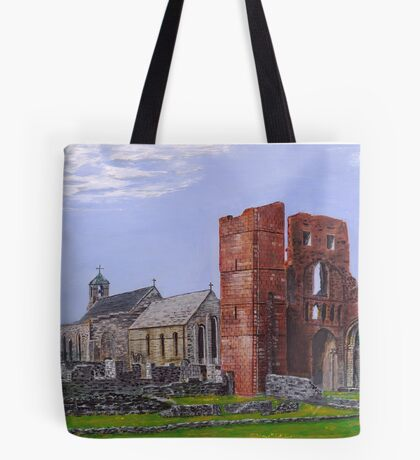 Lindisfarne Priory and St. Mary's Church Tote Bag