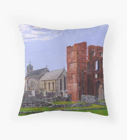 Lindisfarne Priory and St. Mary's Church Throw Pillow
