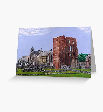 Lindisfarne Priory and St. Mary's Church Greeting Card