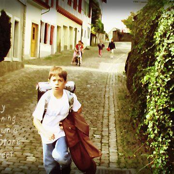 Boy Running Down A Stone Street #2 by Ragus