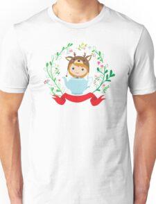 Cute deer girl in the teapot.  Unisex T-Shirt