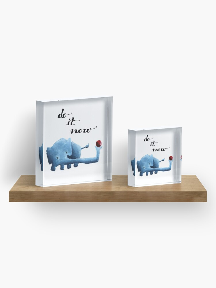 Alternate view of Blue Elephant Acrylic Block