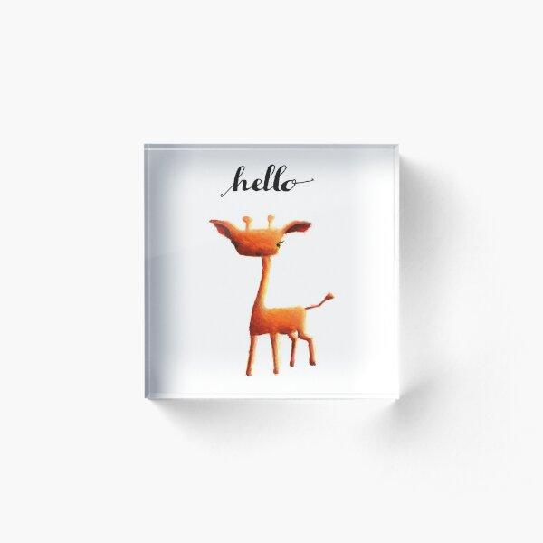 Orange Giraffe Acrylic Block