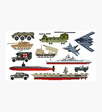 Military Vehicles - The Kids' Picture Show - Pixel Art Photographic Print