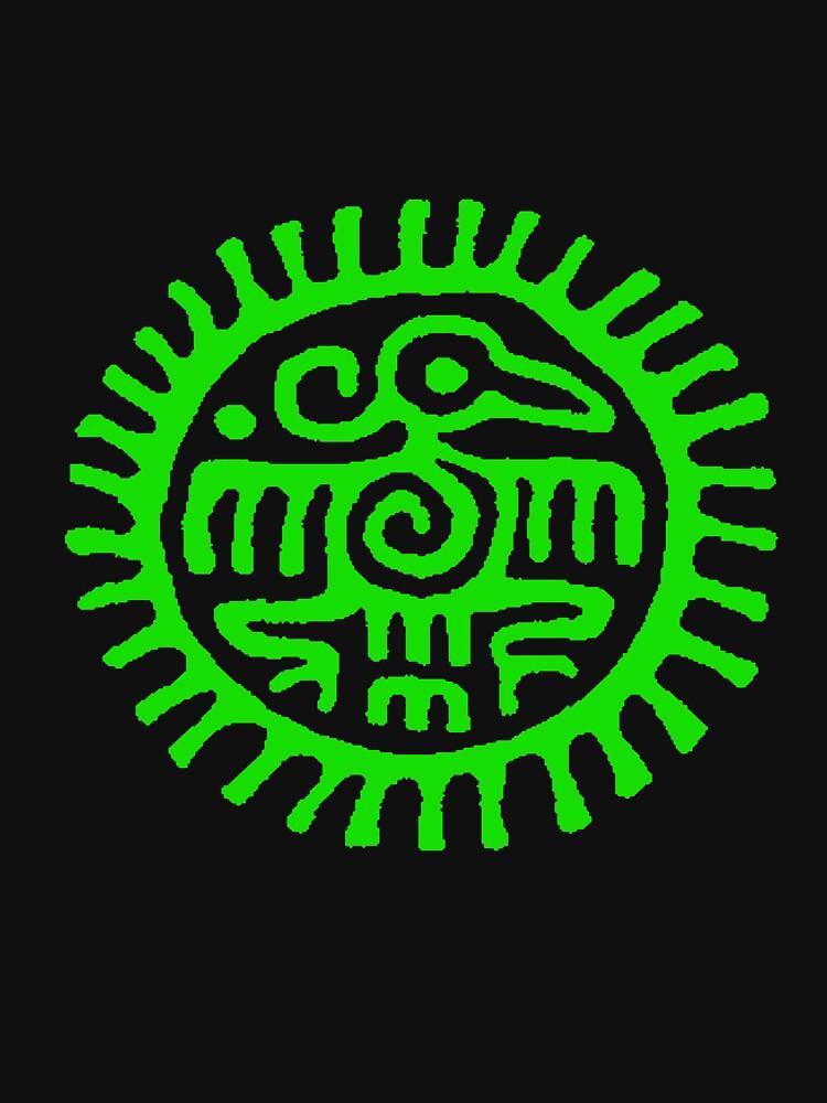 Green Aztec bird by reynarte