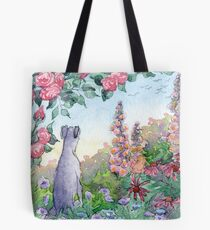 Greyhound dog sitting in a flower garden Tote Bag