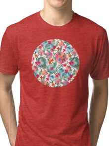 Whimsical Hexagon Garden on white Tri-blend T-Shirt