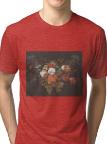 Abraham Mignon - Garland Of Fruit And Flowers  1660  Tri-blend T-Shirt