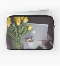 Flowers, coffee and macbook Laptop Sleeve