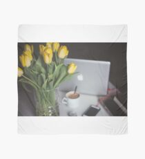 Flowers, coffee and macbook Scarf
