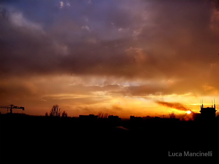 Sunset over Bucharest III by Luca Mancinelli