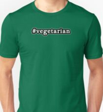 Vegetarian - Hashtag - Black & White Unisex T-Shirt