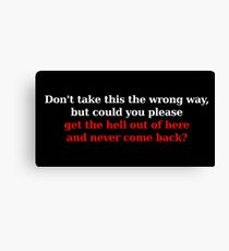 Wrong Way - White/Red Canvas Print