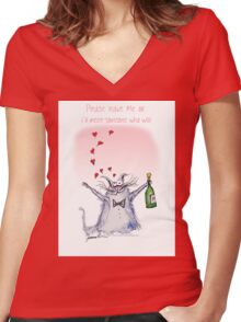Please Leave Me by tony fernandes Women's Fitted V-Neck T-Shirt
