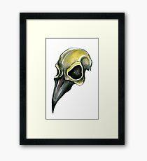 Watervolor Crow Skull Framed Print