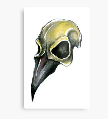 Watervolor Crow Skull Metal Print