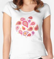 Colorful summer paisleys Women's Fitted Scoop T-Shirt