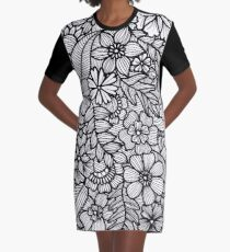 Black and White Floral Graphic T-Shirt Dress