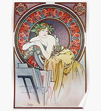 Alphonse Mucha - Girl With Easel Poster