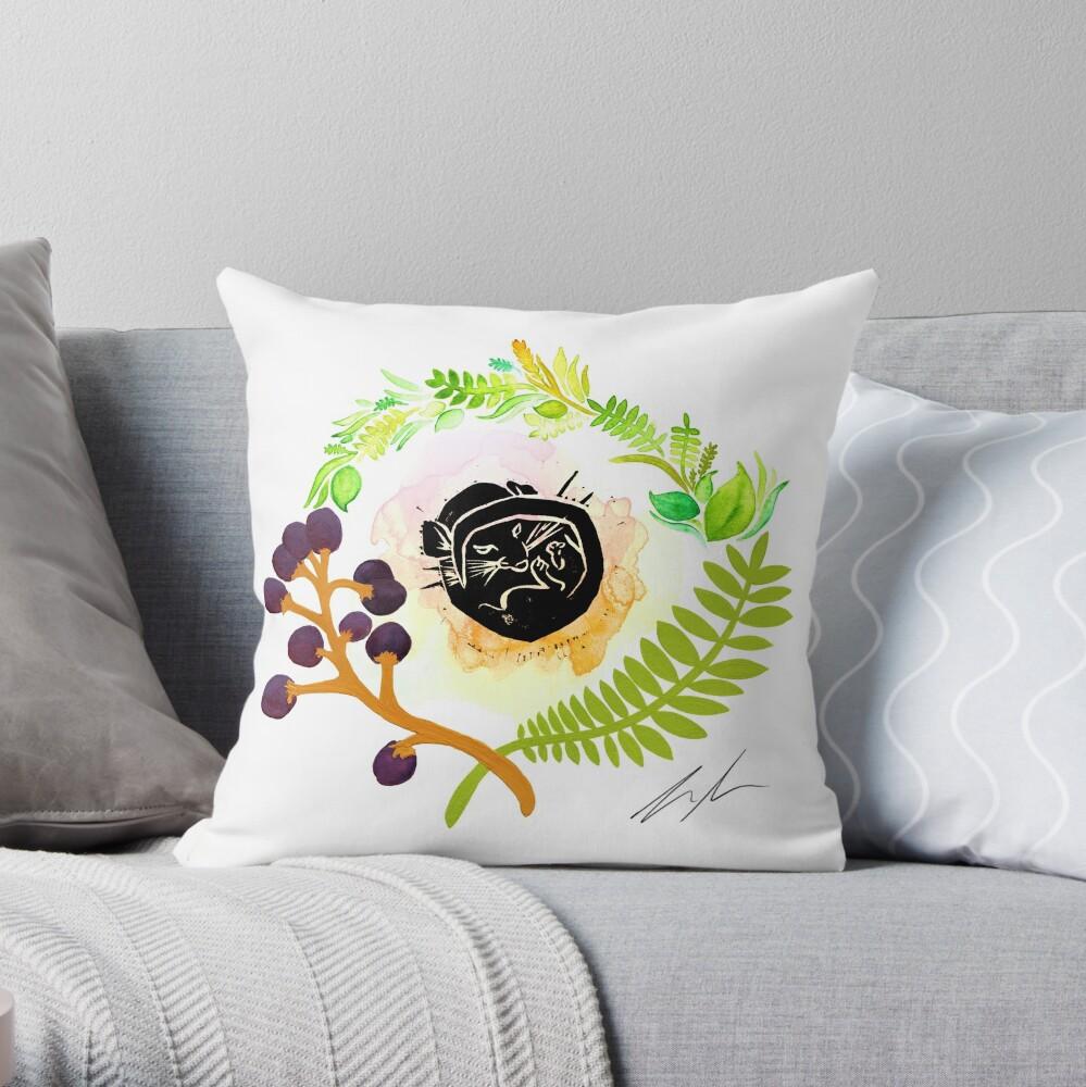 Dormouse Watercolour woodcut wildlife illustration Throw Pillow